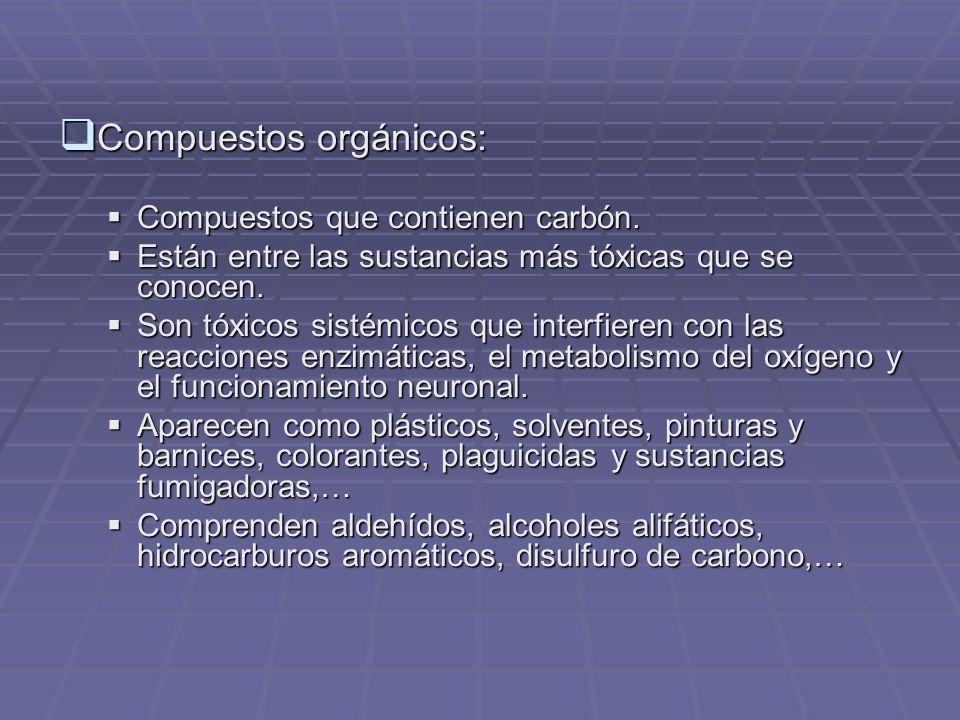 Compuestos orgánicos: Compuestos orgánicos: Compuestos que contienen carbón.