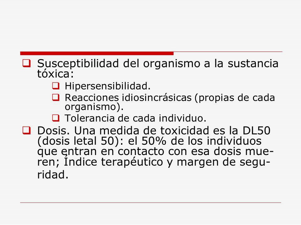 Susceptibilidad del organismo a la sustancia tóxica: Hipersensibilidad.