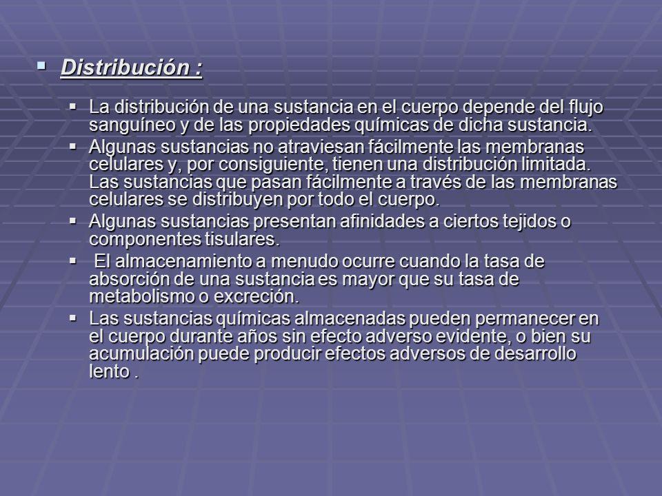 Distribución : Distribución : La distribución de una sustancia en el cuerpo depende del flujo sanguíneo y de las propiedades químicas de dicha sustancia.