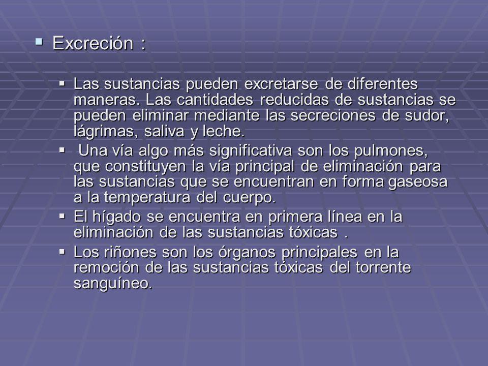 Excreción : Excreción : Las sustancias pueden excretarse de diferentes maneras.