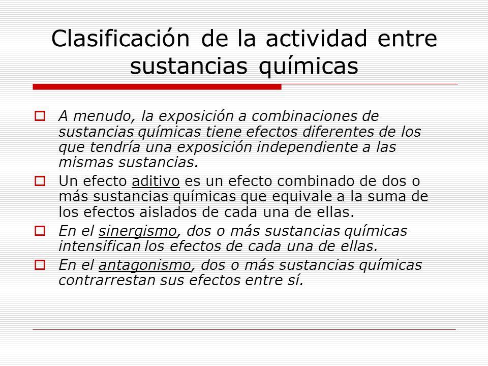 Clasificación de la actividad entre sustancias químicas A menudo, la exposición a combinaciones de sustancias químicas tiene efectos diferentes de los que tendría una exposición independiente a las mismas sustancias.