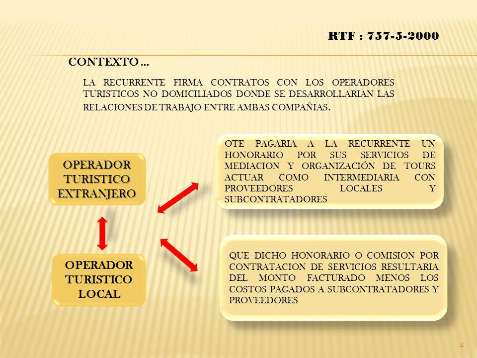 CONTEXTO … LA RECURRENTE FIRMA CONTRATOS CON LOS OPERADORES TURISTICOS NO DOMICILIADOS DONDE SE DESARROLLARIAN LAS RELACIONES DE TRABAJO ENTRE AMBAS C