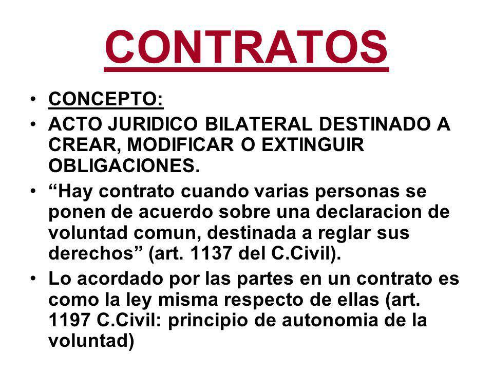 CONTRATOS CONCEPTO: ACTO JURIDICO BILATERAL DESTINADO A CREAR, MODIFICAR O EXTINGUIR OBLIGACIONES.