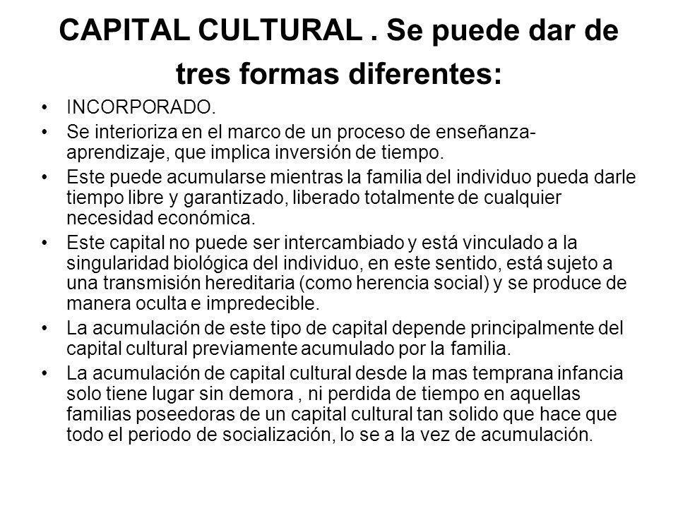 CAPITAL CULTURAL.Se puede dar de tres formas diferentes: INCORPORADO.