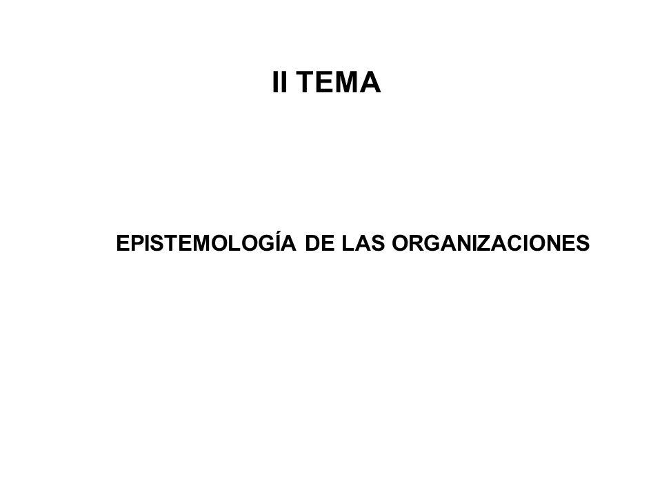 II TEMA EPISTEMOLOGÍA DE LAS ORGANIZACIONES