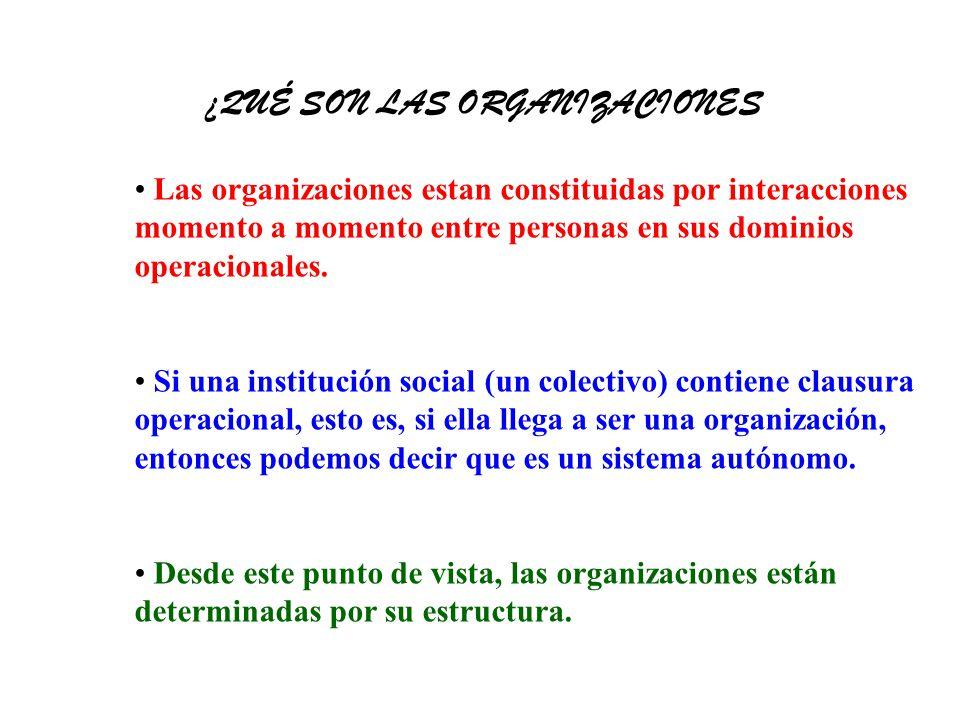Las organizaciones estan constituidas por interacciones momento a momento entre personas en sus dominios operacionales.