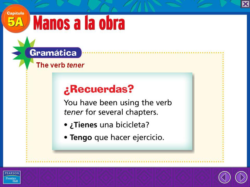 The verb tener