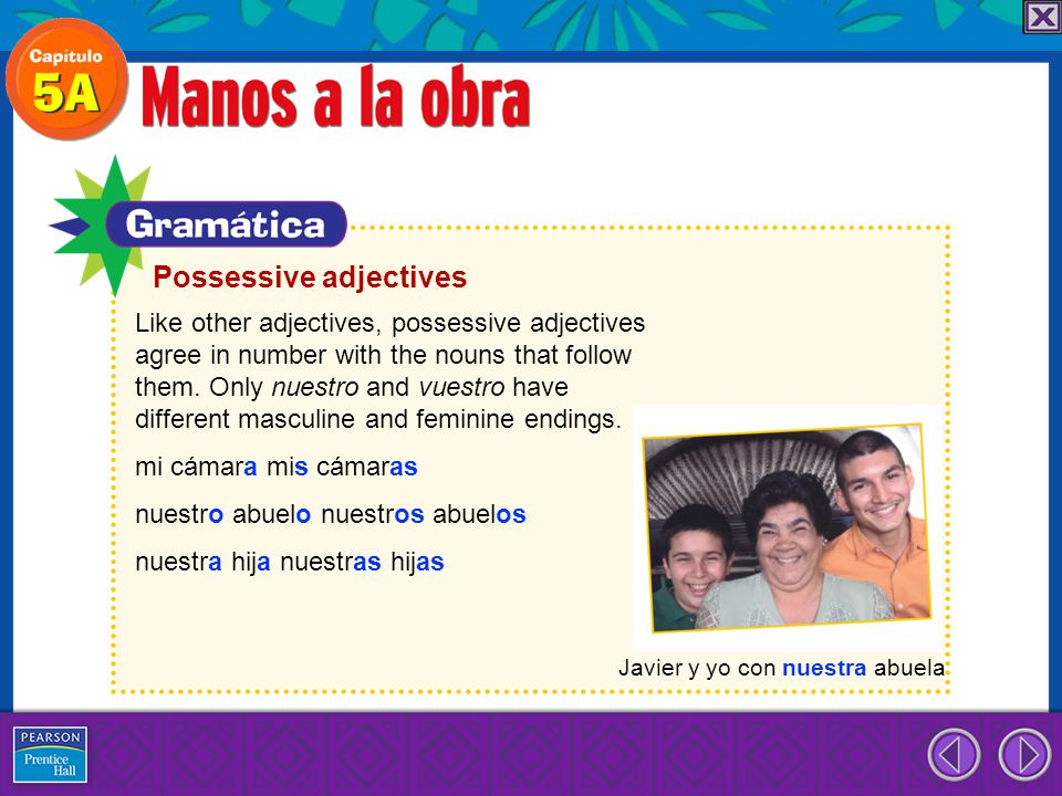 Possessive adjectives Like other adjectives, possessive adjectives agree in number with the nouns that follow them. Only nuestro and vuestro have diff