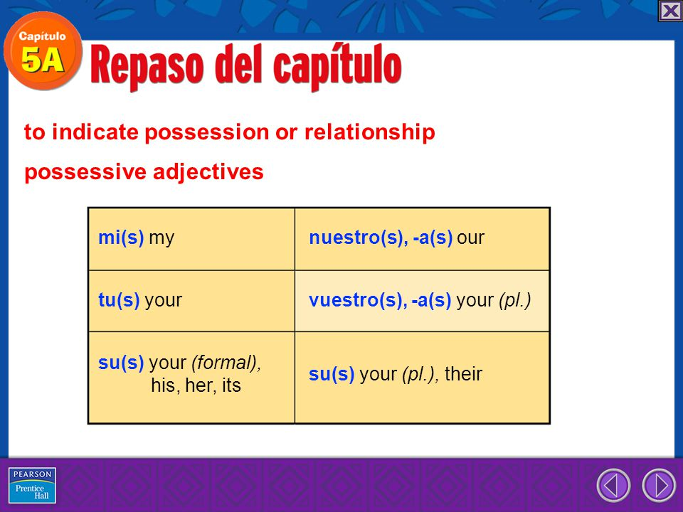 to indicate possession or relationship possessive adjectives mi(s) my tu(s) your su(s) your (formal), his, her, its nuestro(s), -a(s) our vuestro(s),