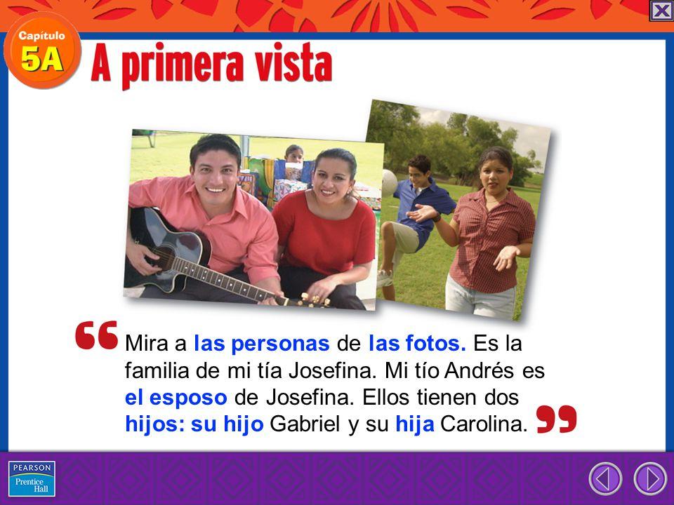 Mira a las personas de las fotos.Es la familia de mi tía Josefina.