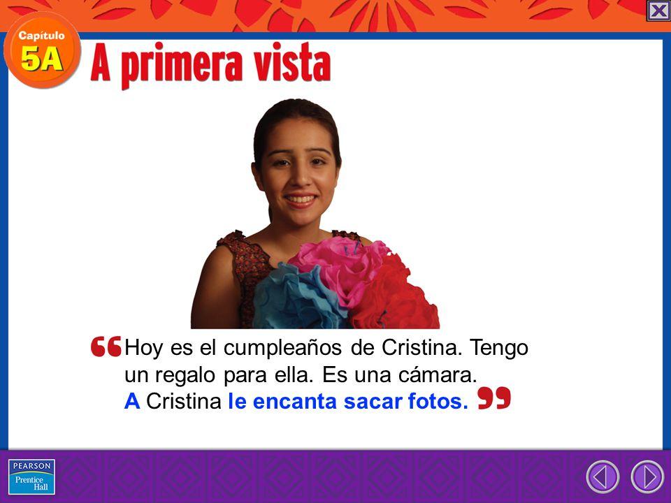Hoy es el cumpleaños de Cristina.Tengo un regalo para ella.