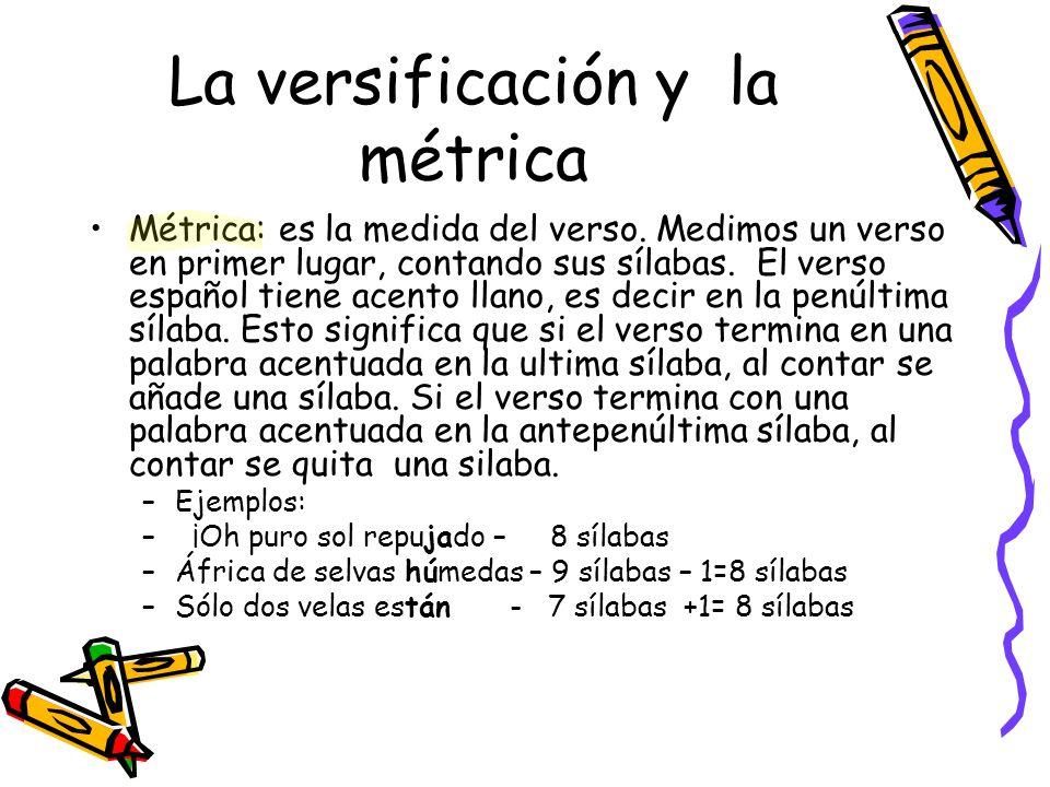 La versificación y la métrica Métrica: es la medida del verso. Medimos un verso en primer lugar, contando sus sílabas. El verso español tiene acento l
