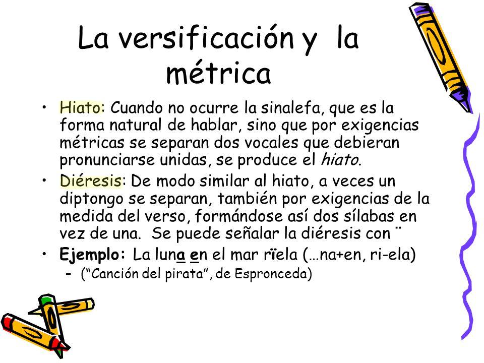 La versificación y la métrica Hiato: Cuando no ocurre la sinalefa, que es la forma natural de hablar, sino que por exigencias métricas se separan dos