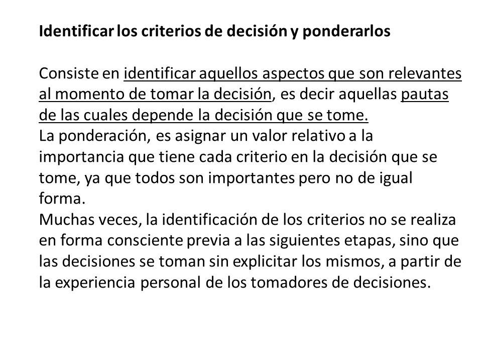 Identificar los criterios de decisión y ponderarlos Consiste en identificar aquellos aspectos que son relevantes al momento de tomar la decisión, es d