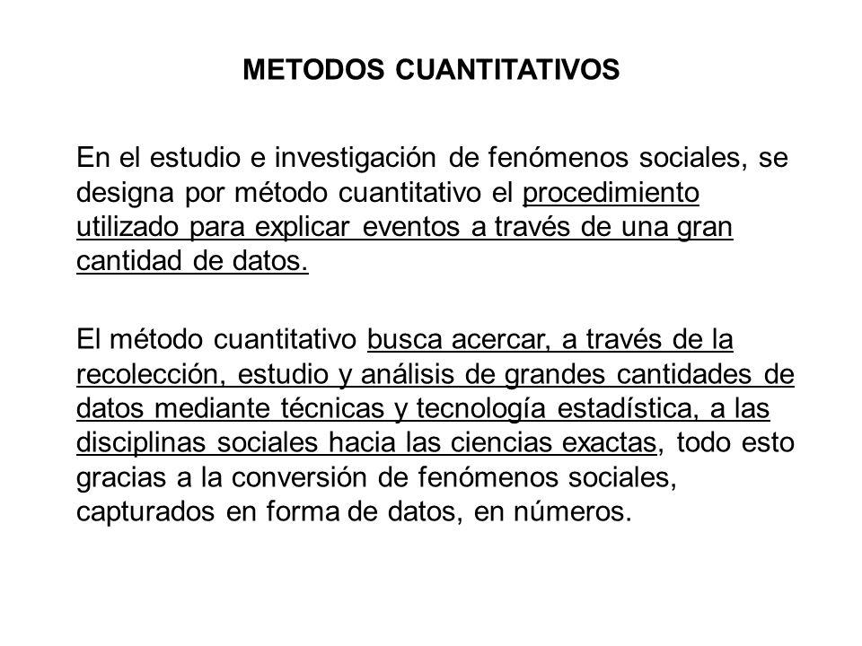 En el estudio e investigación de fenómenos sociales, se designa por método cuantitativo el procedimiento utilizado para explicar eventos a través de u