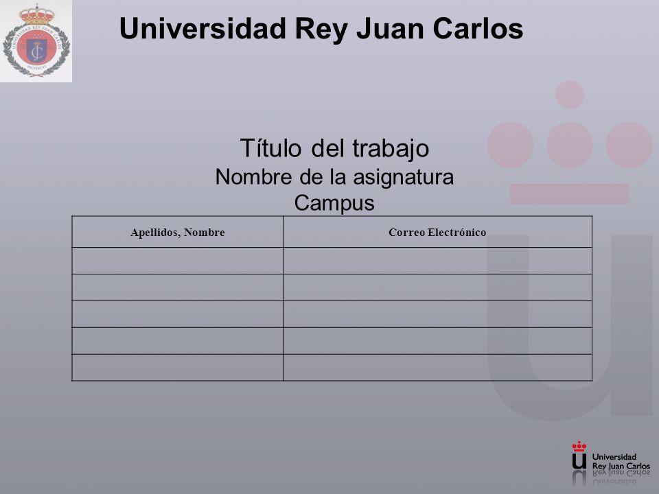 Universidad Rey Juan Carlos Título del trabajo Nombre de la asignatura Campus Apellidos, NombreCorreo Electrónico