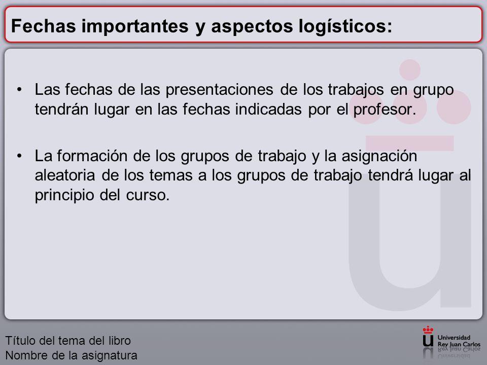 Fechas importantes y aspectos logísticos: Las fechas de las presentaciones de los trabajos en grupo tendrán lugar en las fechas indicadas por el profe