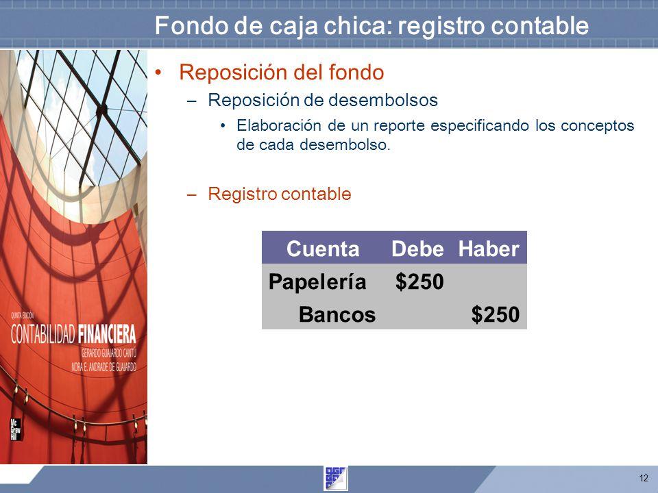 12 Fondo de caja chica: registro contable Reposición del fondo –Reposición de desembolsos Elaboración de un reporte especificando los conceptos de cada desembolso.