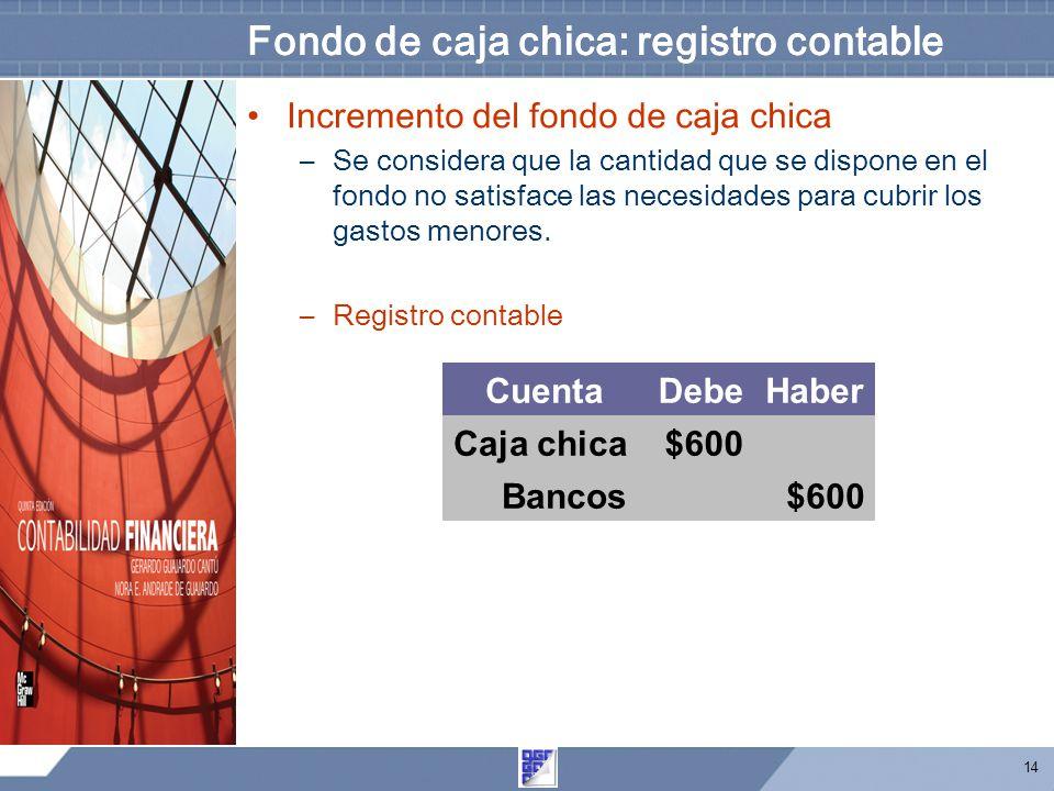 14 Fondo de caja chica: registro contable Incremento del fondo de caja chica –Se considera que la cantidad que se dispone en el fondo no satisface las necesidades para cubrir los gastos menores.
