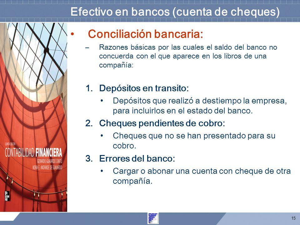 15 Efectivo en bancos (cuenta de cheques) Conciliación bancaria: –Razones básicas por las cuales el saldo del banco no concuerda con el que aparece en los libros de una compañía: 1.Depósitos en transito: Depósitos que realizó a destiempo la empresa, para incluirlos en el estado del banco.