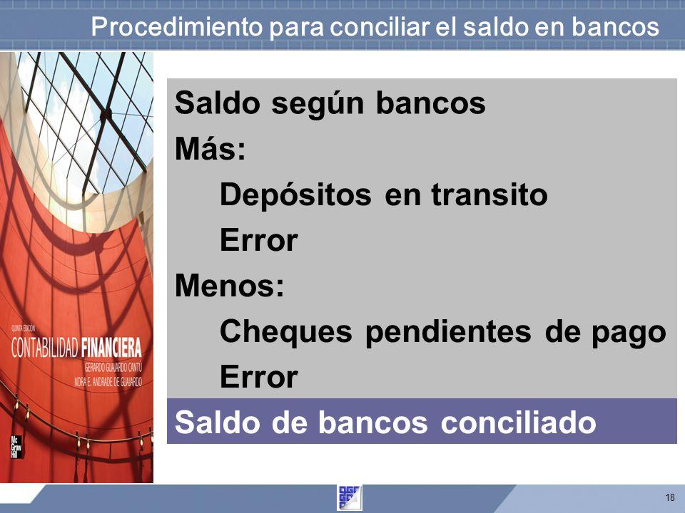 18 Procedimiento para conciliar el saldo en bancos Saldo según bancos Más: Depósitos en transito Error Menos: Cheques pendientes de pago Error Saldo de bancos conciliado