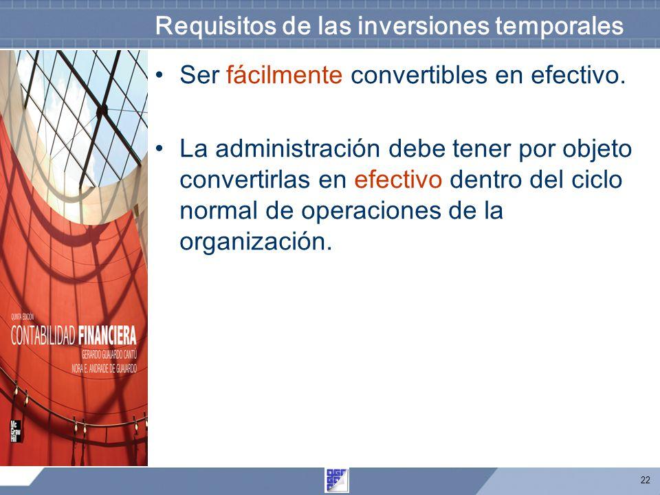 22 Requisitos de las inversiones temporales Ser fácilmente convertibles en efectivo.