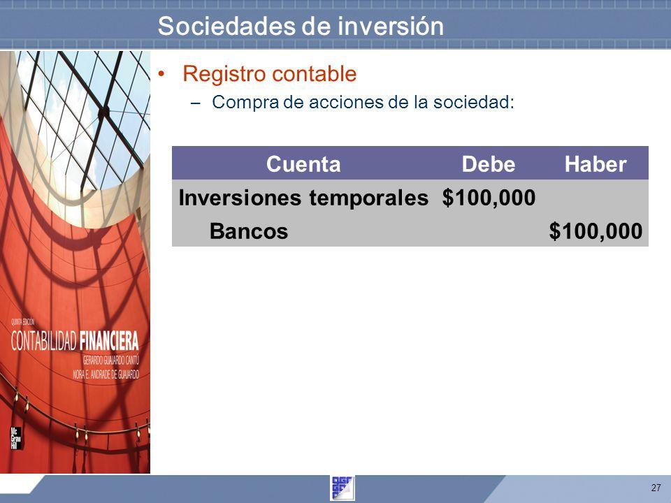 27 Sociedades de inversión Registro contable –Compra de acciones de la sociedad: CuentaDebeHaber Inversiones temporales$100,000 Bancos $100,000