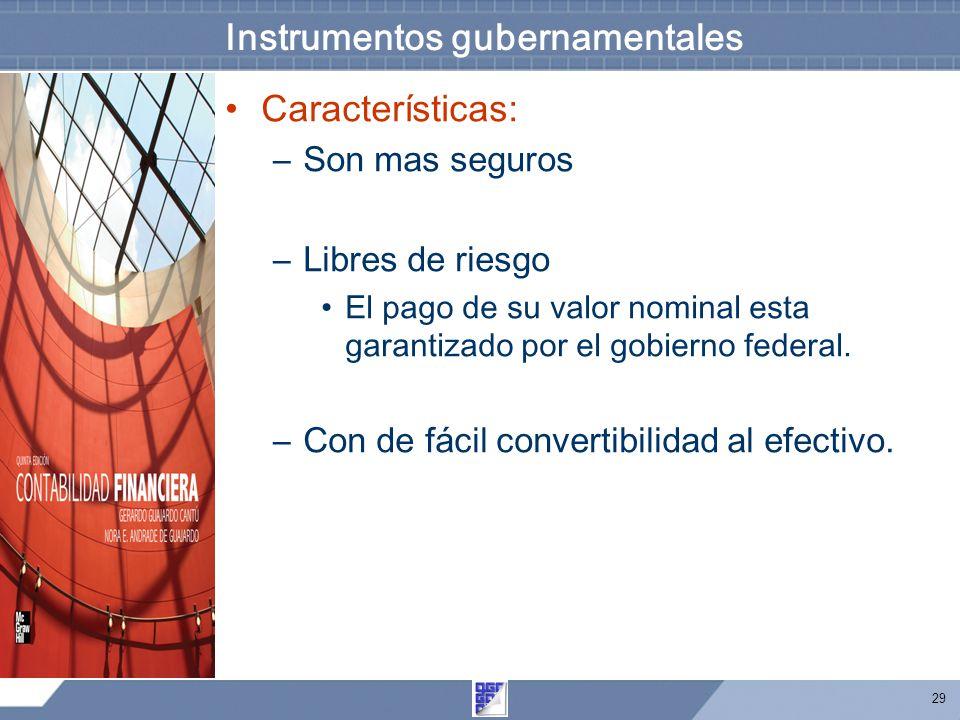 29 Instrumentos gubernamentales Características: –Son mas seguros –Libres de riesgo El pago de su valor nominal esta garantizado por el gobierno federal.