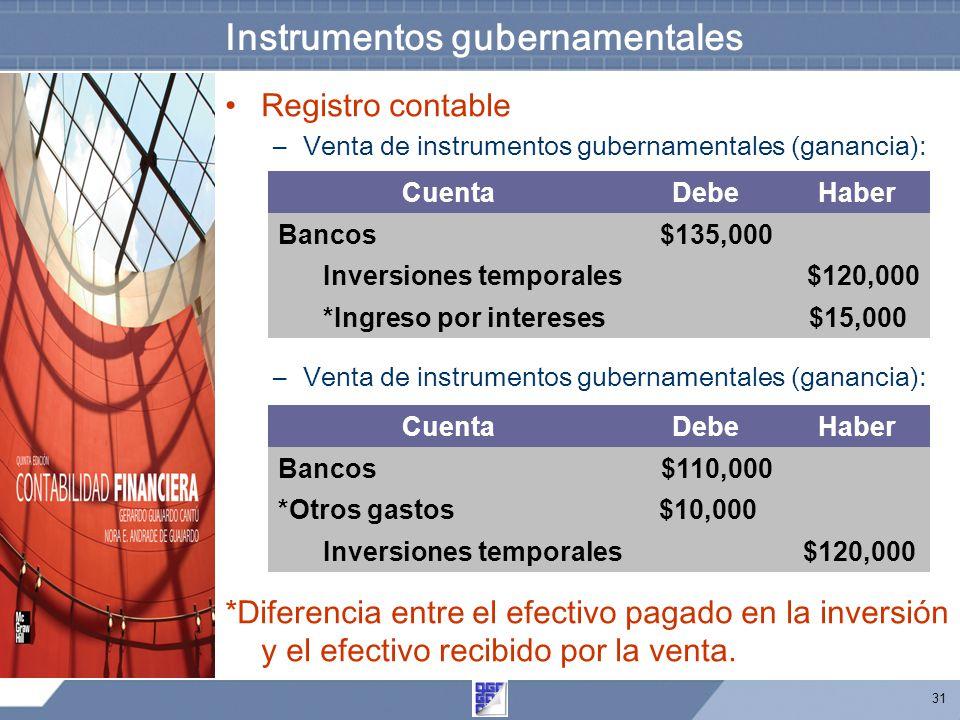 31 Instrumentos gubernamentales Registro contable –Venta de instrumentos gubernamentales (ganancia): *Diferencia entre el efectivo pagado en la inversión y el efectivo recibido por la venta.