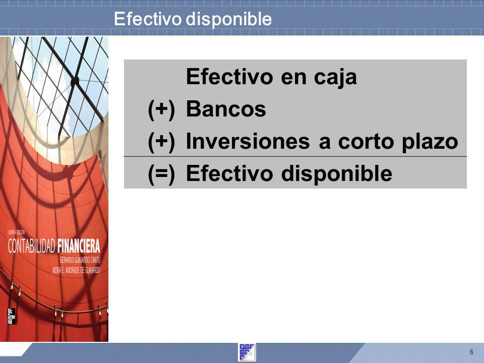 6 Efectivo disponible Efectivo en caja (+)Bancos (+)Inversiones a corto plazo (=)Efectivo disponible
