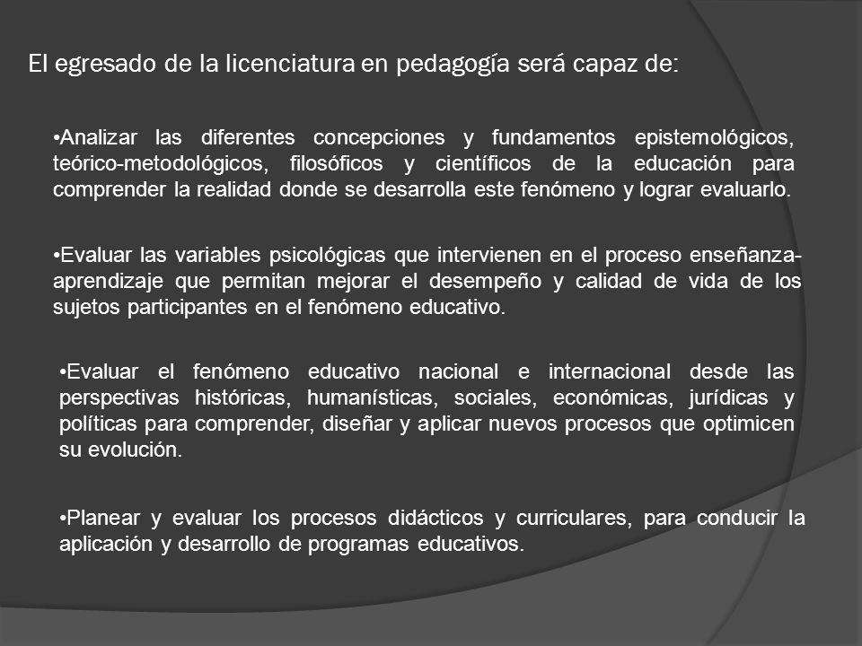 El egresado de la licenciatura en pedagogía será capaz de: Analizar las diferentes concepciones y fundamentos epistemológicos, teórico-metodológicos,