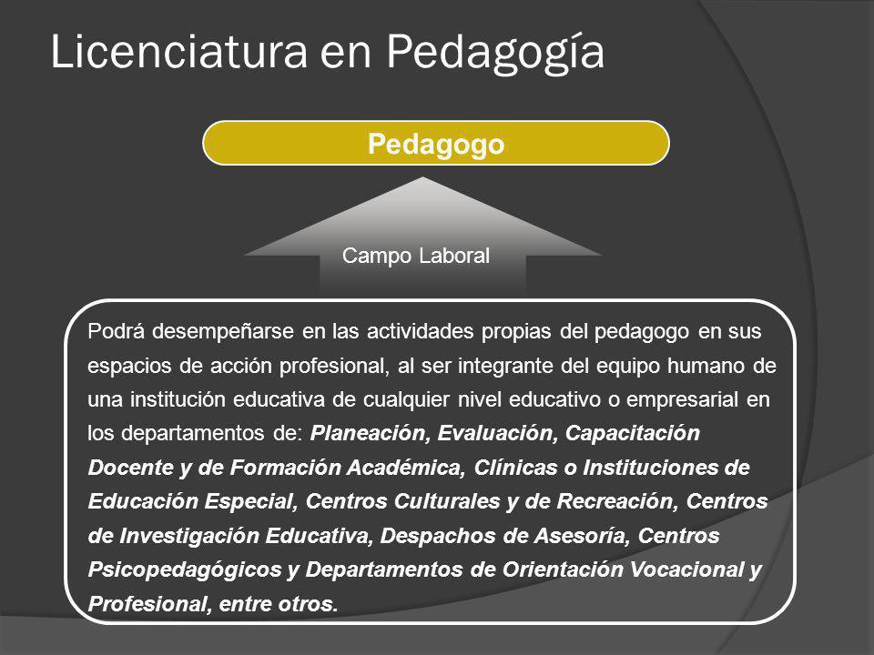 Podrá desempeñarse en las actividades propias del pedagogo en sus espacios de acción profesional, al ser integrante del equipo humano de una instituci