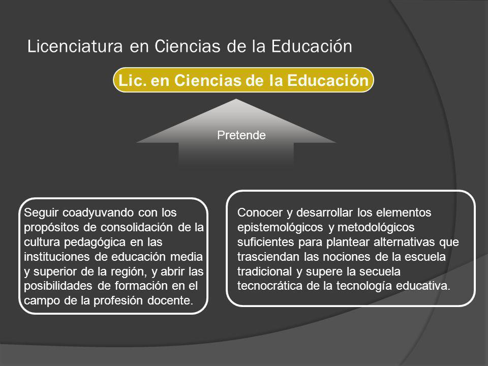Licenciatura en Ciencias de la Educación Lic. en Ciencias de la Educación Pretende Seguir coadyuvando con los propósitos de consolidación de la cultur