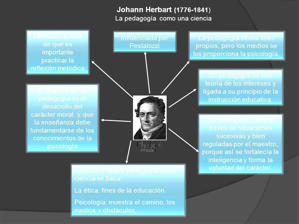 Johann Herbart (1776-1841) La pedagogía como una ciencia Defendió la idea de que es importante practicar la reflexión metódica El objetivo de su pedag