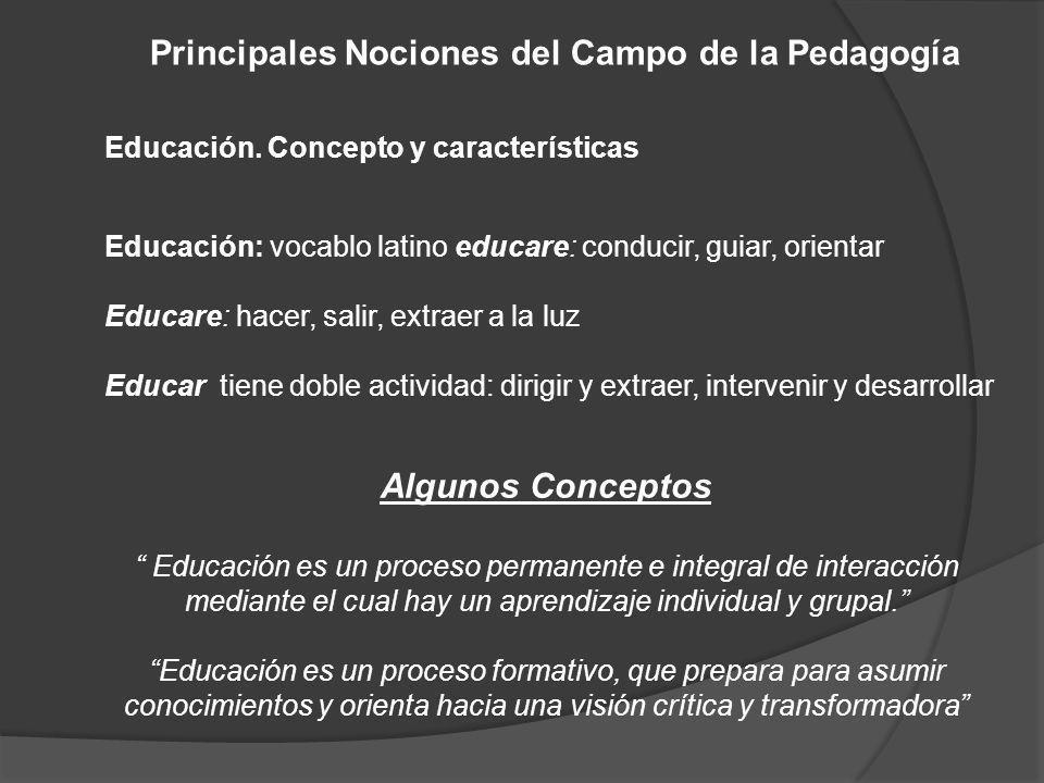 Principales Nociones del Campo de la Pedagogía Algunos Conceptos Educación es un proceso permanente e integral de interacción mediante el cual hay un