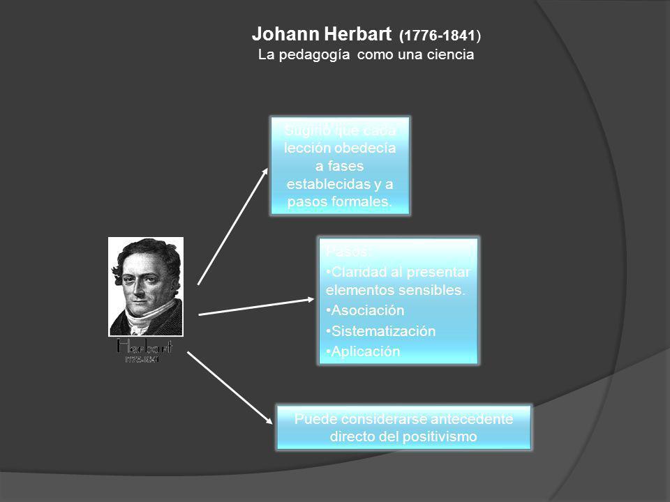 Johann Herbart (1776-1841) La pedagogía como una ciencia Sugirió que cada lección obedecía a fases establecidas y a pasos formales. Pasos: Claridad al