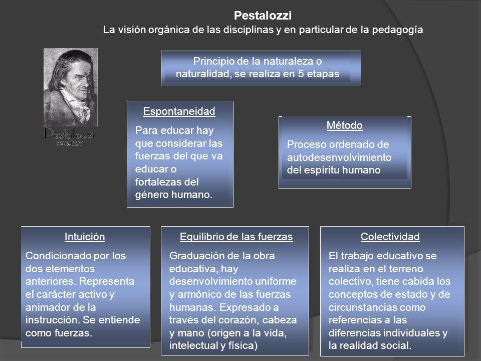 Pestalozzi La visión orgánica de las disciplinas y en particular de la pedagogía Principio de la naturaleza o naturalidad, se realiza en 5 etapas Intu
