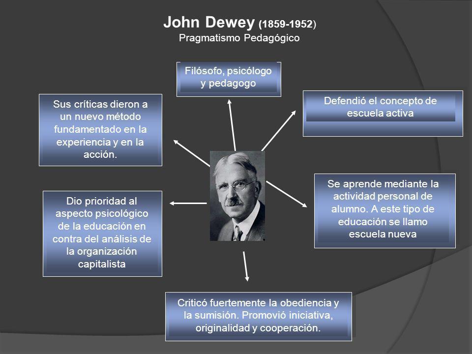 John Dewey (1859-1952) Pragmatismo Pedagógico Sus críticas dieron a un nuevo método fundamentado en la experiencia y en la acción. Dio prioridad al as