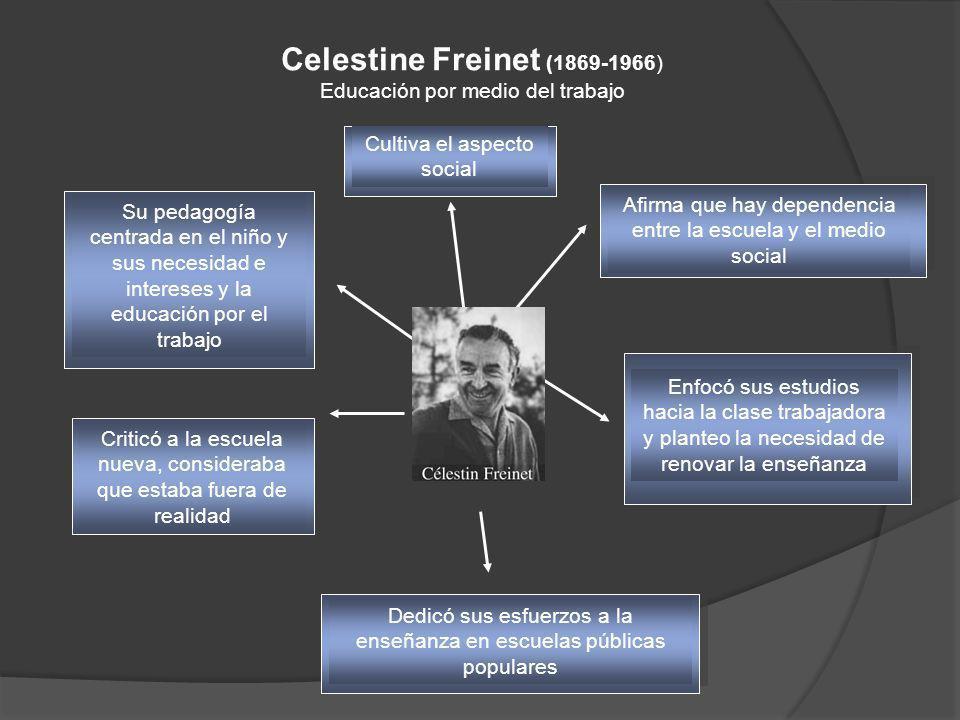 Celestine Freinet (1869-1966) Educación por medio del trabajo Su pedagogía centrada en el niño y sus necesidad e intereses y la educación por el traba