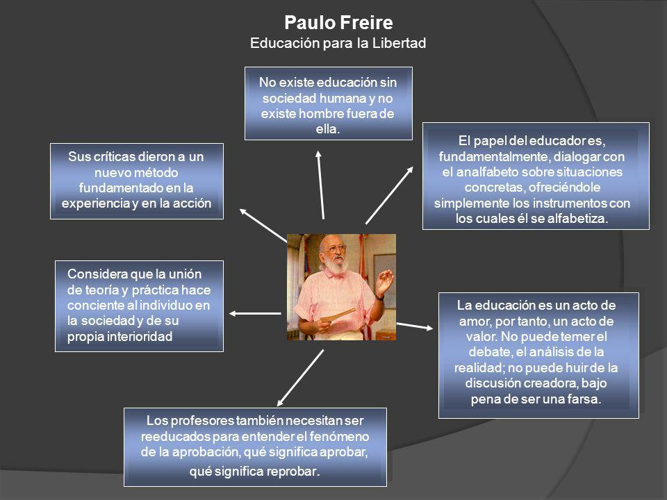 Paulo Freire Educación para la Libertad Sus críticas dieron a un nuevo método fundamentado en la experiencia y en la acción Considera que la unión de