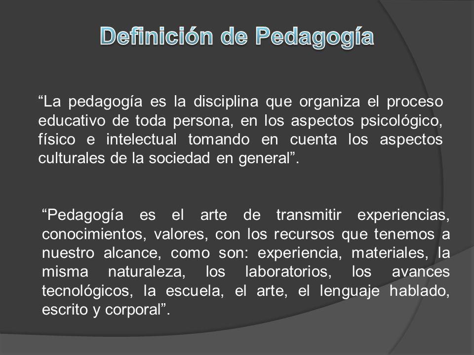 La pedagogía es la disciplina que organiza el proceso educativo de toda persona, en los aspectos psicológico, físico e intelectual tomando en cuenta l