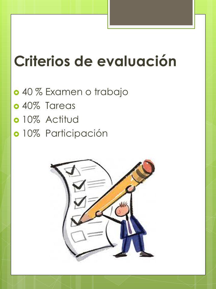 Criterios de evaluación 40 % Examen o trabajo 40% Tareas 10% Actitud 10% Participación
