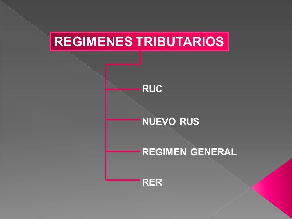 REGIMENES TRIBUTARIOS RUC NUEVO RUS REGIMEN GENERAL RER