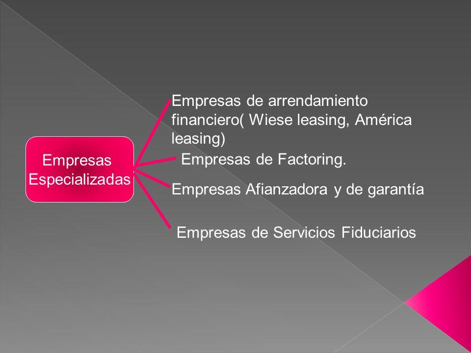 Empresas Especializadas Empresas de arrendamiento financiero( Wiese leasing, América leasing) Empresas de Factoring. Empresas Afianzadora y de garantí