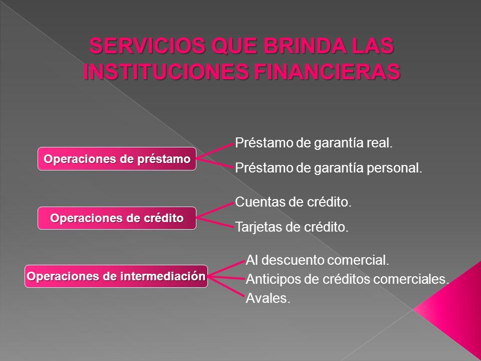 SERVICIOS QUE BRINDA LAS INSTITUCIONES FINANCIERAS Operaciones de préstamo Préstamo de garantía real. Préstamo de garantía personal. Operaciones de cr