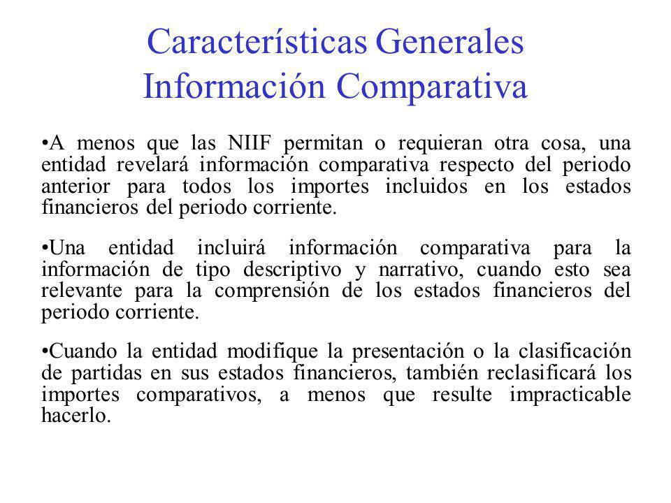 Características Generales Información Comparativa A menos que las NIIF permitan o requieran otra cosa, una entidad revelará información comparativa respecto del periodo anterior para todos los importes incluidos en los estados financieros del periodo corriente.