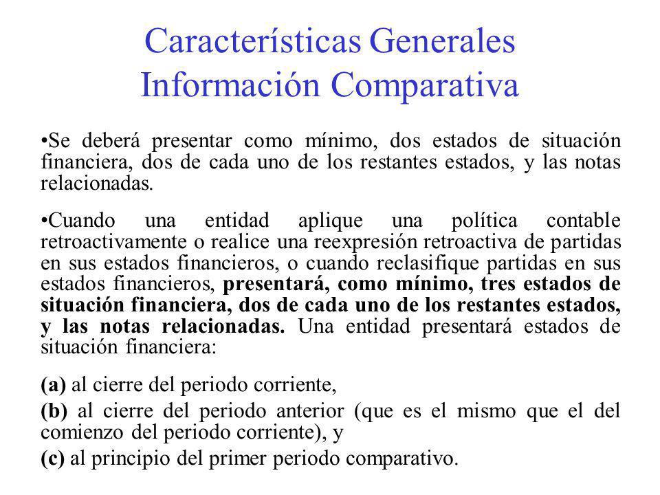 Características Generales Información Comparativa Se deberá presentar como mínimo, dos estados de situación financiera, dos de cada uno de los restantes estados, y las notas relacionadas.