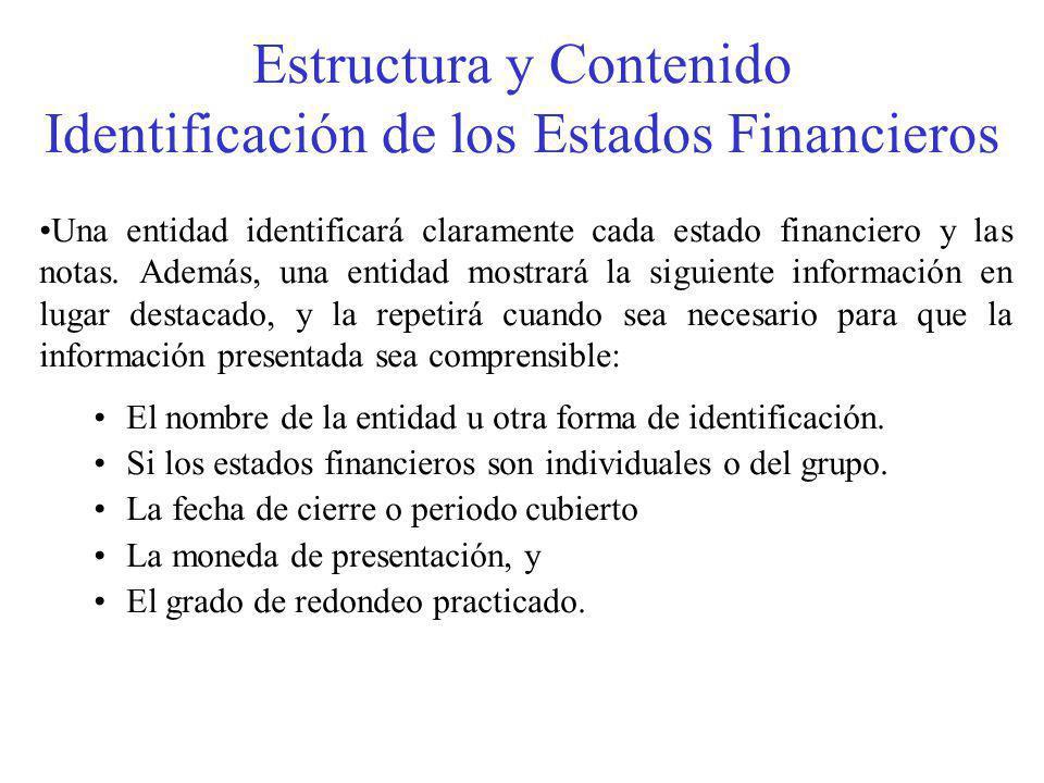 Estructura y Contenido Identificación de los Estados Financieros Una entidad identificará claramente cada estado financiero y las notas.