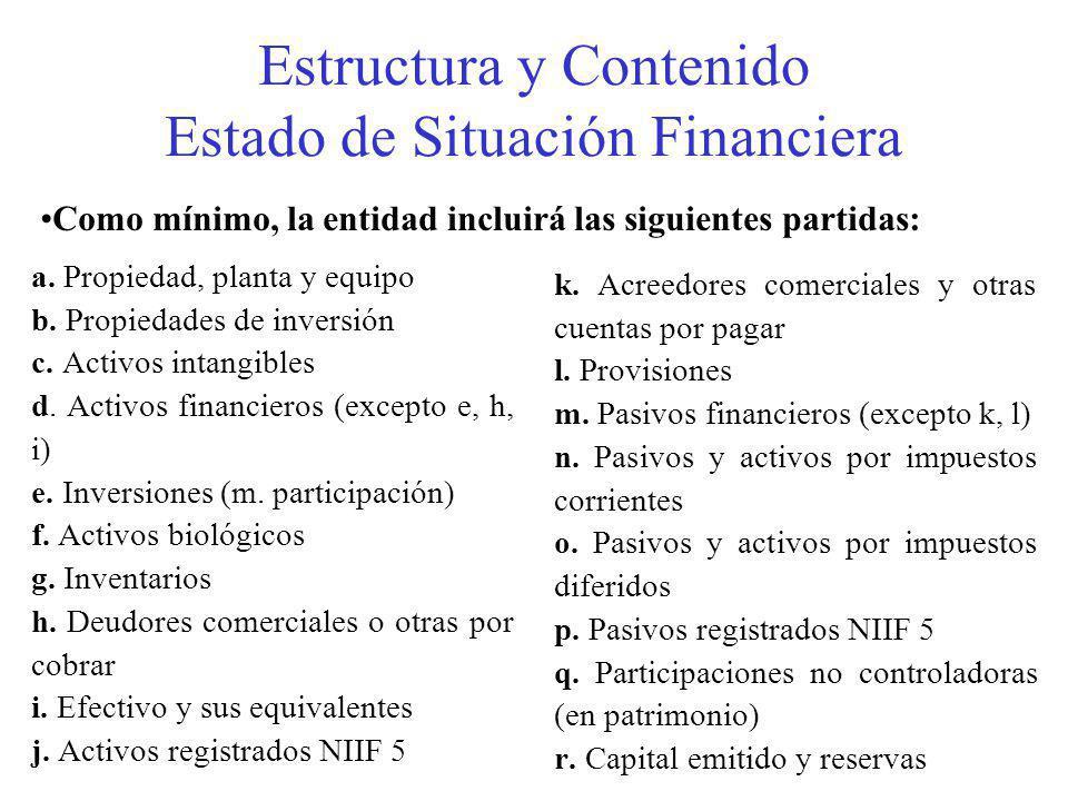 Estructura y Contenido Estado de Situación Financiera a.