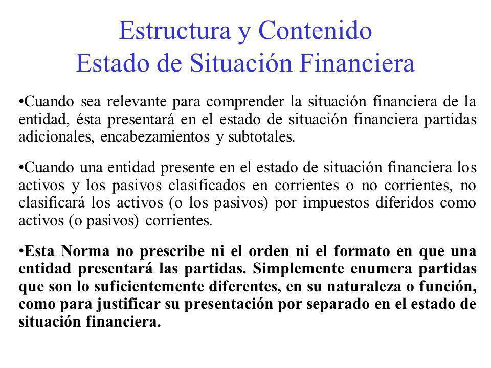 Estructura y Contenido Estado de Situación Financiera Cuando sea relevante para comprender la situación financiera de la entidad, ésta presentará en el estado de situación financiera partidas adicionales, encabezamientos y subtotales.
